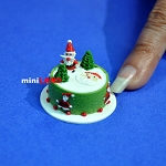 Christmas Chocolate cake 1:12 dollhouse miniature handmade Bakery food SP23