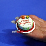 Christmas Chocolate cake 1:12 dollhouse miniature handmade Bakery food SP27