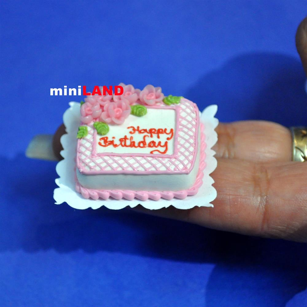Happy Birthday Cake 112 Dollhouse Miniature Handmade Bakery Food Stc15