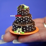 Wedding Cake for 1:12 Scale dollhouse miniature handmade polymer clay wc027