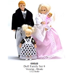 Doll Family Set 4pcs  Victorian - Blonde 1:12 Scale dollhouse miniature