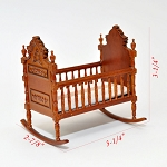 Fine Quality Victorian walnut baby Crib for 1:12 Dollhouse miniatures