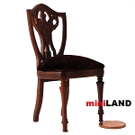 Clearance sale - High End  CHAIR  walnut wood with  Velvet upholstery for dollhouse miniature 1:12 scale