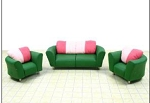 Clearance SALE - Half Scale 1:24 -  Polymer Clay Living Room Set - Green/Pink