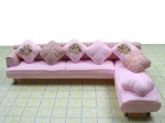 Clearance SALE - Half Scale 1:24 -  Polymer Clay Living Room Pink Corner Couch