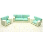 Clearance SALE - Half Scale 1:24 -  Polymer Clay Living Room Set - Green/White