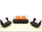 Clearance SALE - Half Scale 1:24 -  Polymer Clay Living Room Set - Black/White/Orange