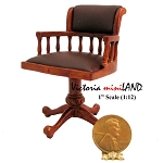 Clearance sale - High End SWIVEL OFFICE CHAIR  walnut wood with Brown leather