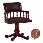 Clearance sale - High End SWIVEL OFFICE CHAIR  mahogany wood with Brown leather