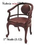 Clearance sale - High End Curved Arm Chair mahogany wood with Brown leather