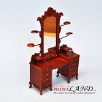 Quality walnut dresser with hats stand mirror for dollhouse miniature 1:12 scale WN
