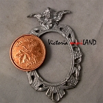 OVAL FRAME with CHERUB unfinished DIY metal miniature for dollhouse