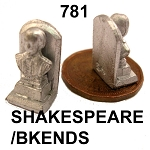 SHAKESPEARE head bookend  unfinished DIY metal miniature for dollhouse - Do it yourself  -2pcs