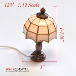 Clearance sale  - Dollhouse Miniature White copper Tiffany lamp 1:12 Scale 12v