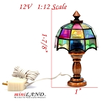 Clearance sale  - Dollhouse Miniature Colored copper Tiffany lamp 1:12 Scale 12v