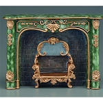 Victorian Elegant Green marble Fireplace  for 1:12 dollhouse miniature Reutter Porcelain
