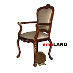 Clearance sale - High End  CHAIR  walnut wood with gold for dollhouse miniature 1:12 scale