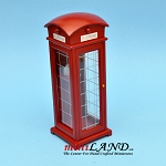 Classic red vintage outdoor telephone booth dollhouse miniature