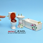 3 piece bathroom set - white ceramic decorated with pink flowers dollhouse miniature 1:12 scale