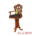 As IS - Casino Tall Chair play game room Dollhouse miniature 1:12 High bar stool wood 0059