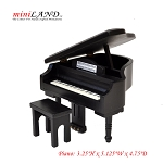 Black grand Piano with Bench for 1:12 dollhouse miniature