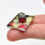 Red tuna FISH with lemon  on a metal tray for 1:12 dollhouse miniature
