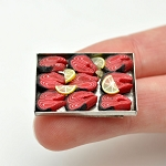 Red tuna slices FISH with lemon  on a metal tray for 1:12 dollhouse miniature