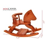 Walnut wood rocking horse child room for 1:12 dollhouse miniature