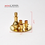 Brass 1:12 scale metal wine set with tray and 4 cups