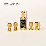 Brass 1:12 scale metal wine set with 4 cups