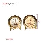Brass 1:6 scale metal decoration plates with stands - set of 2pcs