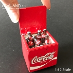 Coke Coca Cola wooden fridge cooler box cabinet with 6 loose bottles and loose ice 1:12 scale for dollhouse miniatures COC1