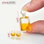A bottle of alcoholic beverage with two glasses of brandy whiskey 1:12 scale dollhouse miniature  D411