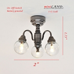 3 Arm Black chandelier LED Super bright with On/off switch for 1:12 dollhouse miniature Clear