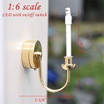 1:6 scale brass candle wall sconce LED Super bright with On/off switch