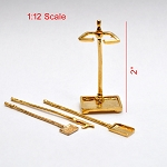 Metal fireplace tools set with stand for 1:12 dollhouse miniature