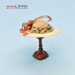 Hand crafted woman hat on stand for dollhouse miniature 1:12 scale