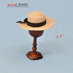 Hand crafted summer woman hat on stand for dollhouse miniature 1:12 scale