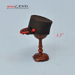 Hand crafted conductor man hat on stand for dollhouse miniature 1:12 scale