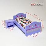 Clearance sale - purple girl bed and bed stand for dollhouse miniature 1:12 scale