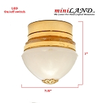 Ceiling lamp white shade LED Super bright with On/off switch for 1:12 scale dollhouse miniature