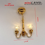 Battery operated LED LAMP Dollhouse miniature light chandelier 2arm on/off switch 1:12 scale clear
