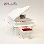 White grand Piano with Bench for 1:12 dollhouse miniature