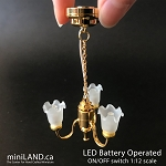 3 Arm brass frosted open tulip hanging chandelier LED Super bright with on/off switch for 1:12 scale dollhouse miniatures