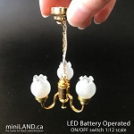 3 Arm brass frosted tulip hanging chandelier LED Super bright with on/off switch for 1:12 scale dollhouse miniatures