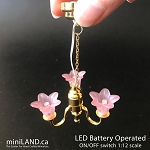 3 Arm brass pink tulip chandelier LED Super bright with on/off switch for 1:12 scale dollhouse miniatures