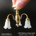 3 Arm brass frosted flower tulip chandelier LED Super bright with on/off switch for 1:12 scale dollhouse miniatures