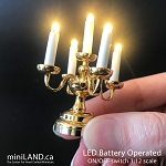 Small brass Candelabra 5 candles Super bright with on/off switch for 1:12 scale dollhouse miniatures