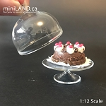 Quality 2 piece round display glass cake dome cookies pastry tray for dollhouse miniature 1:12  TG2