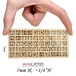 Wood Carved Miniature Wood Letters and Numbers - 7mm (1/4